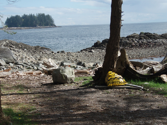 Valdez Beach on Quadra Island, now clean again. Many seals, porpoises, fish, and some whales live in the waters of beautiful Desolation Sound which attract kayakers from around the world.