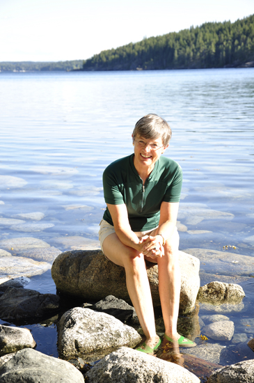 Valerie Thom on her favourite beach, Quadra Island, British Columbia, Canada.