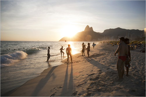 Rules put in place in December prohibit ball playing near the water's edge between 8 a.m. and 5 p.m. at Ipanema Beach, above. André Vieira for The New York Times