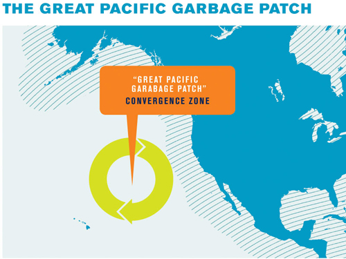 Map of the location of the eastern Pacific Garbage Patch.