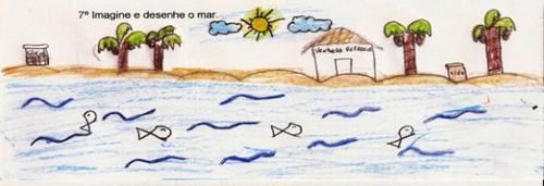 Desenho dos alunos representando o mar limpo