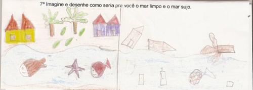 Desenho dos alunos representando o mar limpo e sujo