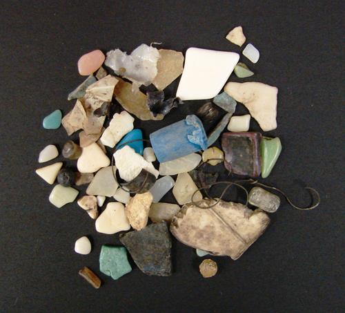 Pedaços de plásticos encontrados no trato digestório de uma ave marinha. Os plásticos podem causar diversos danos físicos, além de serem uma possível fonte de contaminação por poluentes orgânicos persistentes. © Fernanda Imperatrice Colabuono / IO-USP