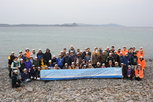 Group photos with participants from China, Japan, Korea and Russia in NOWPAP International Coastal Cleanup campaign in Hirado, Japan, 28 March 2010. Photography by NOWPAP RCU.
